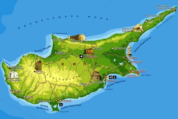Достопримечательности Кипра на карте Туристическая карта