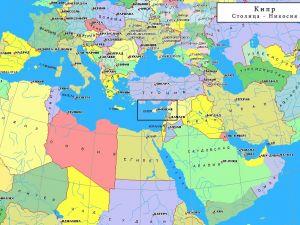 Остров Кипр на карте Мира и Европы ТурСоветыру 2020