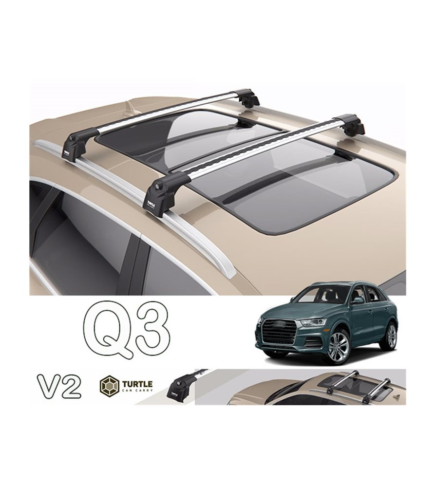 audi q3 turtle roof bars racks set upper t track with quickacces