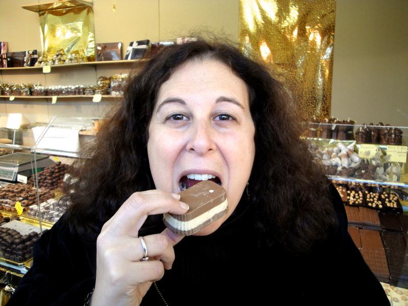 Mindi Taking a Chocolate Break in Florence Italy