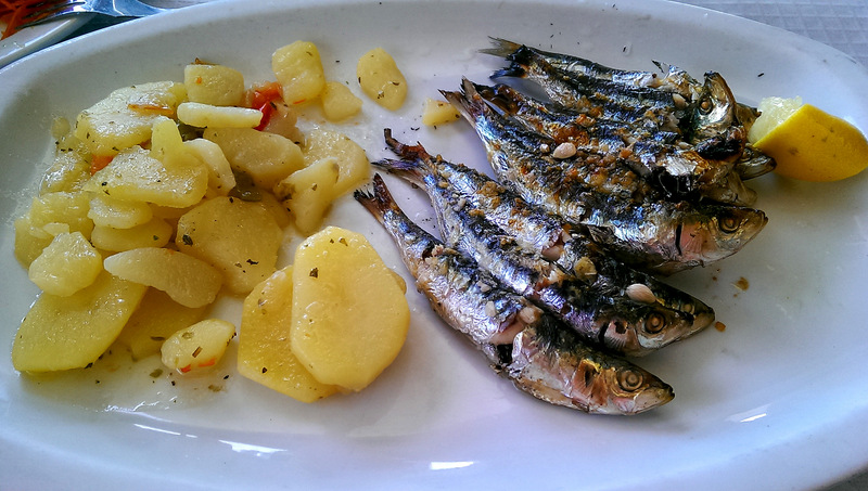 Grilled Sardines, Spanish food at the beach