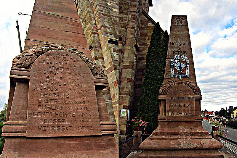War memorial in front of Anjoutey Church, Territoire de Belfort