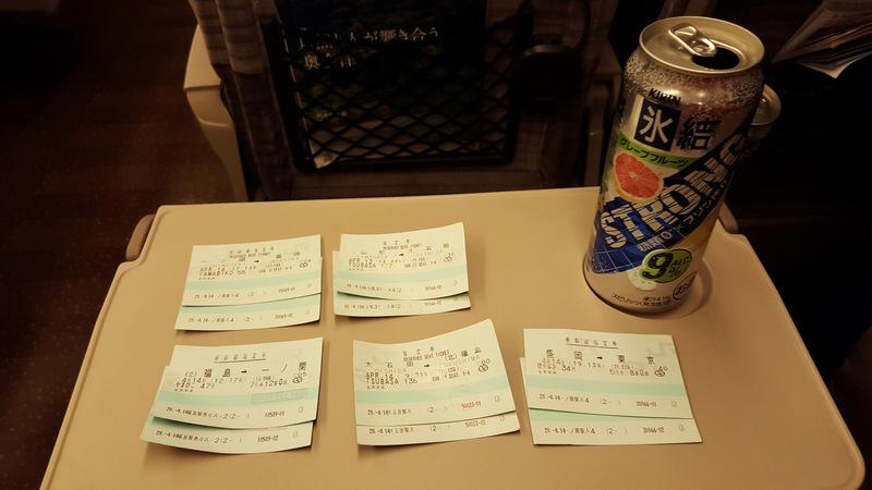 Enjoying a Chūhai while riding the shinkansen.