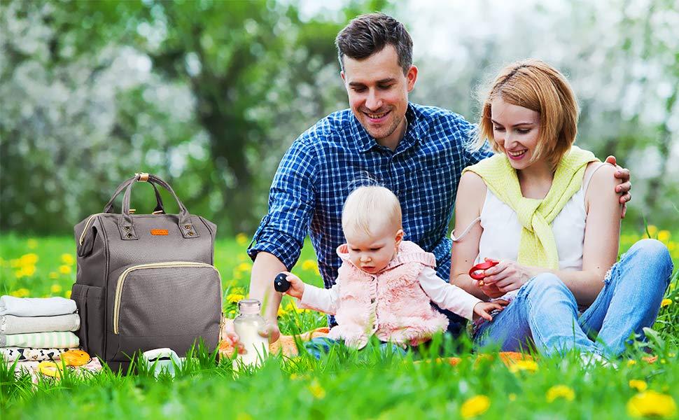 HOMIEE Mochila para Pañales Multi-Funcional, Mochila de Pañales y Biberones, Gran Capacidad, Impermeable Bolsa de Pañales Para Bebés, Bolso de Viaje con Aislado Bolsillos (Negro)