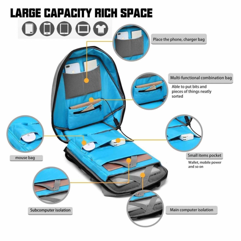 mochila abierta viendo todos sus compartimentos