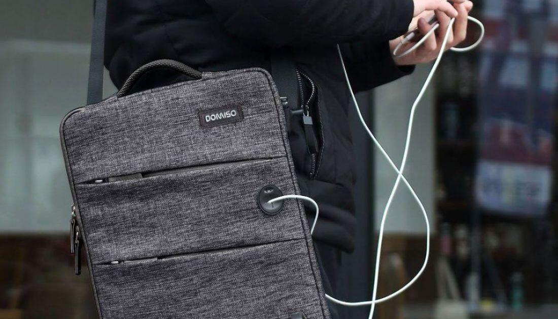 DOMISO Bolso Bandolera con Puerto de Carga USB para portatil (7)