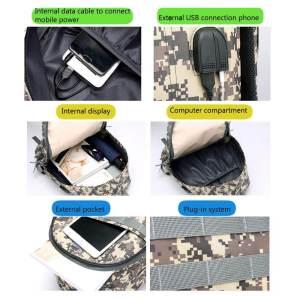 Mochila Militar de Camuflaje con «Puerto de Carga USB ⚡» Portátil 18″ (7)
