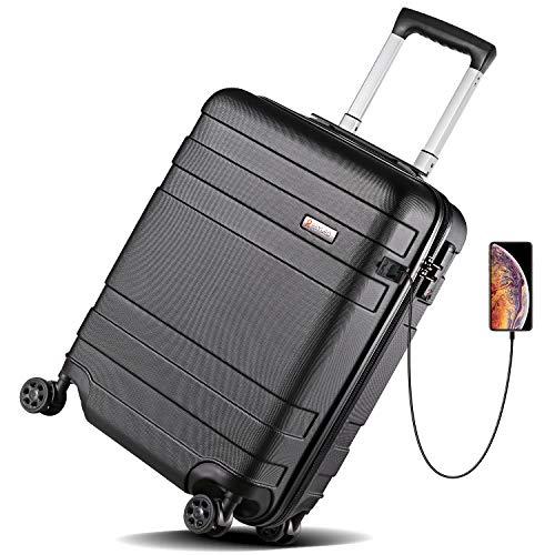 """REYLEO Maleta Cabina Rígida 21"""" Equipaje de Mano con Puerto de Carga USB, Candado TSA, 4 Ruedas Silenciosas"""