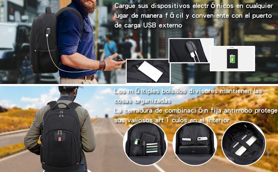 Mochila Antirrobo con Puerto USB para Portátiles Impermeable 9
