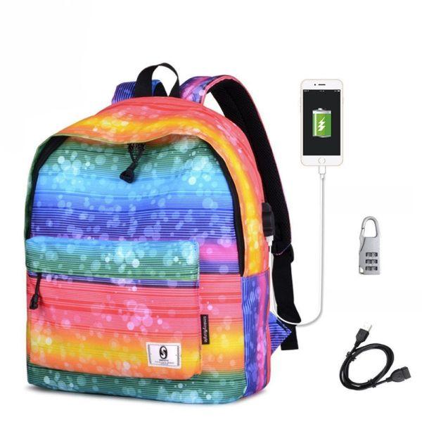 Mochila Escolar Juvenil BEARBELLY ≫ con 【USB ⚡】 1