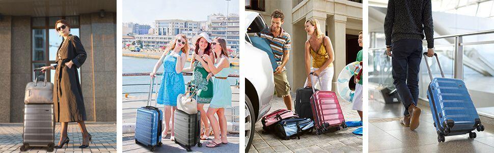 Chicas y chicos de vacaciones con maletas con puerto usb de colores