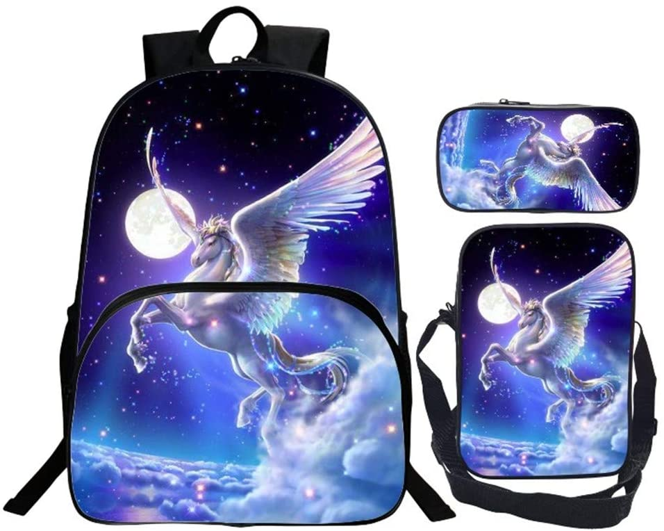KIYOUMI mochila de unicornio mochila escolar de 3 piezas para niños bolsa de almuerzo y bolsa de lapices mochila juvenil impresa en 3D (8)