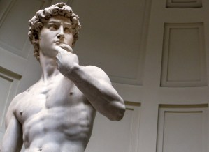 Michaelangelo's David sculpted from Carrara marble