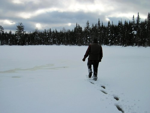 Winter hiking on Mavis Lake in the BWCA through slush