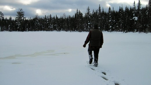 Slushy conditions in the Boundary Waters Canoe Area Wilderness on Mavis Lake