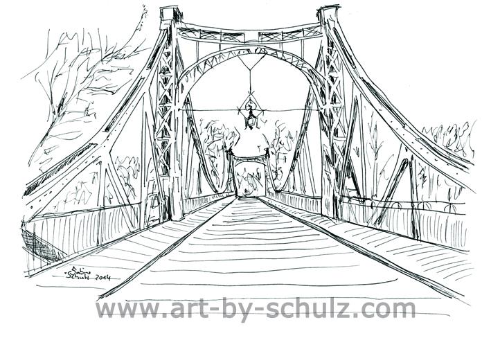 Brücke der Freundschaft, Halle (Saale), Sabine Schulz, Tusche, Tusche Verlag, Zeichnung