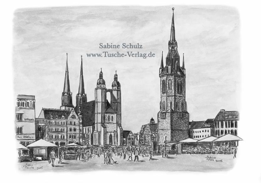 Markt, Sepia, Halle (Saale), Sabine Schulz, Tusche, Tusche Verlag, Zeichnung