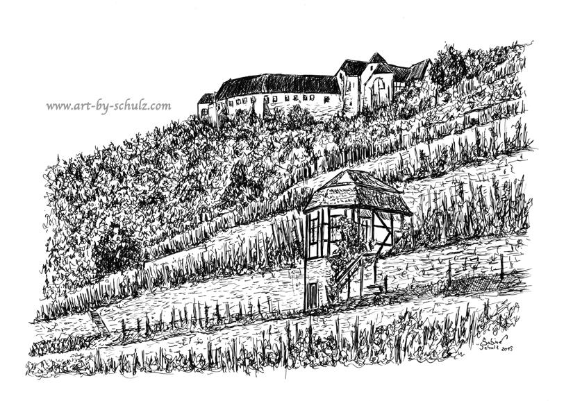 Neuenburg, Freyburg, Sabine Schulz, Tusche, Tusche Verlag, Zeichnung