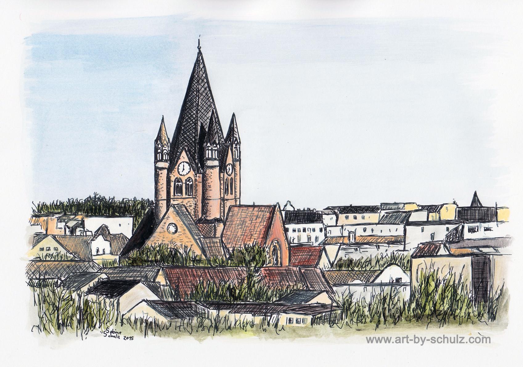 Pauluskirche, farbig, Halle (Saale), Sabine Schulz, Tusche, Tusche Verlag, Zeichnung