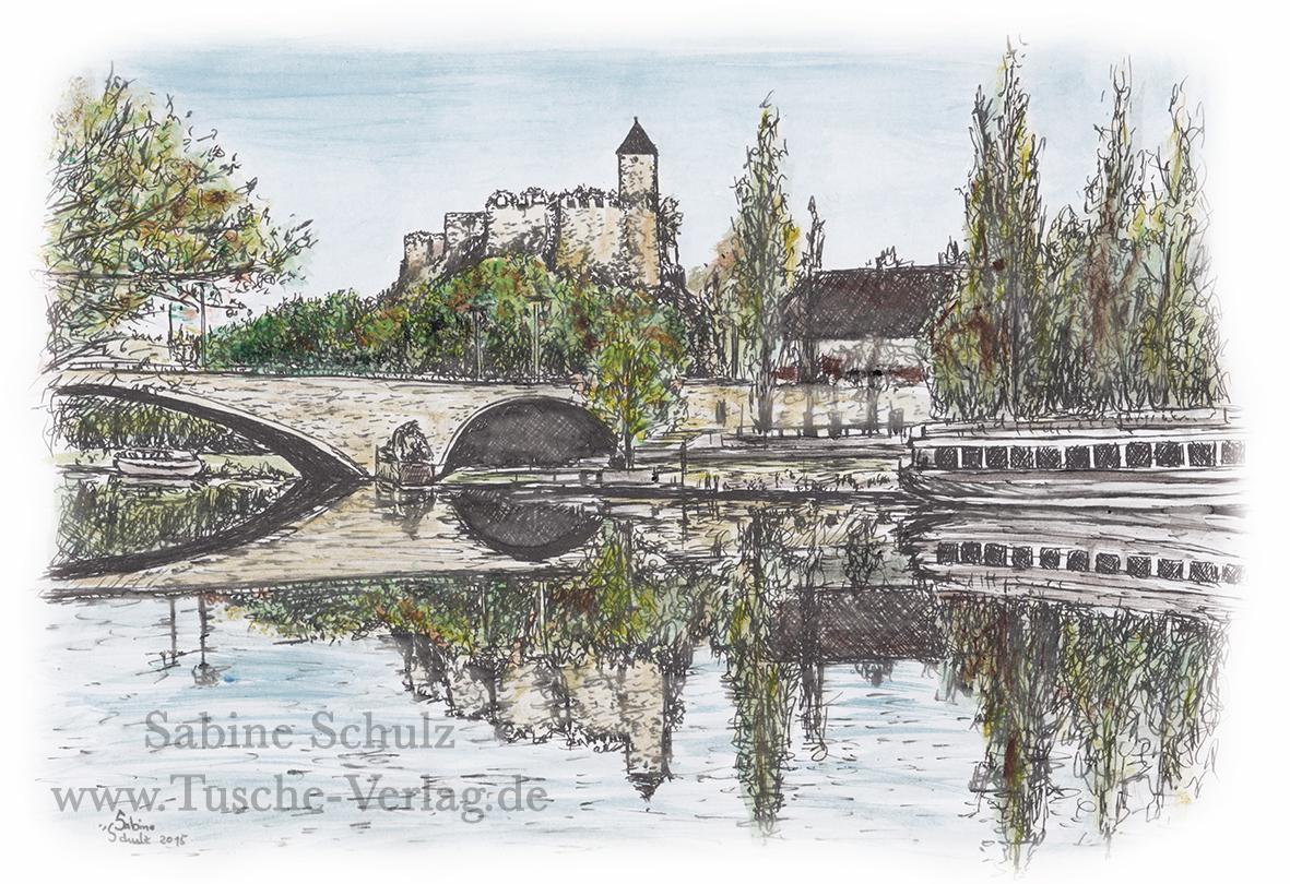 Burg Giebichenstein gespiegelt, farbig, Halle (Saale), Sabine Schulz, Tusche, Tusche Verlag, Zeichnung