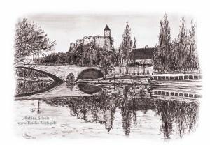 Burg Giebichensein, Sepia , Halle (Saale), Sabine Schulz, Tusche, Tusche Verlag, Zeichnung