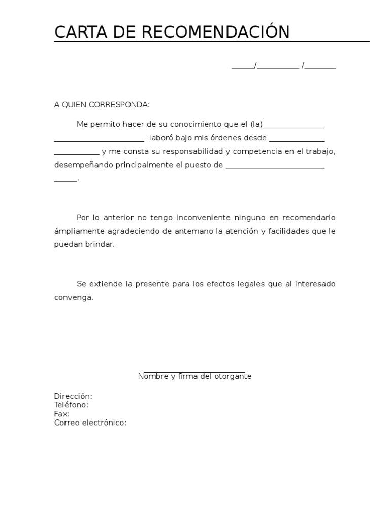 Imgenes De Carta De Recomendacin Laboral Imgenes