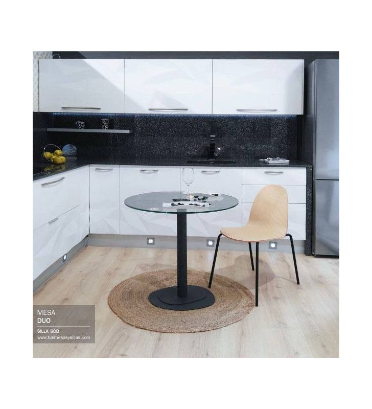 table ronde duo avec plateau en verre et pied central en metal