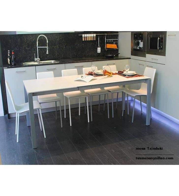 table de cuisine extensible carree 100x10 cm txindoki au design moderne