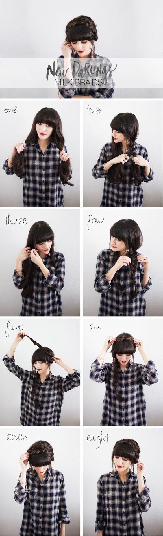 peinados con flequillo recogido