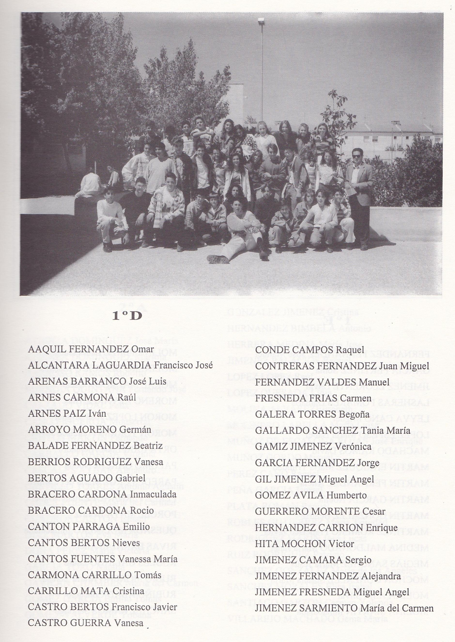 1º BUP D (curso 1993-1994)