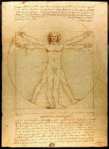 El hombre de Vitruvio Leonardo da Vinci, 1487