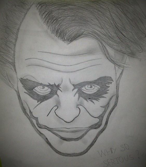 """""""Dedicado a mi personaje y villano favorito, el Joker. Lo dibujé hace un año mas o menos para regalárselo a un amigo mio que también le gusta mucho este personaje. A mi amigo le gustó mucho como me quedó"""" (Santiago)."""