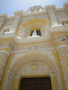 The decoration of La Merced church in the city of Antigua includes corncobs, a Maya symbol.