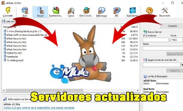 actualizar servidores de emule v0 50a