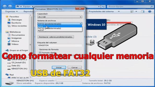 formatear usb windows 10