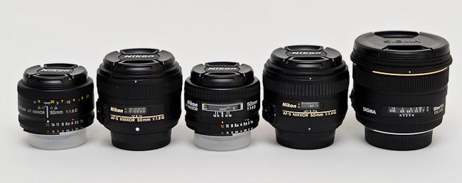 Gamme d'objectif Nikon 50mm