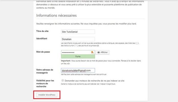 Installer WordPress !