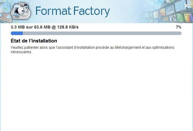 Patientez pendant l'installation de Format Factory