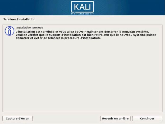 Installation de Kali Linux terminée !