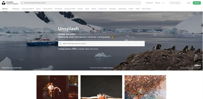 Le site Unsplash !