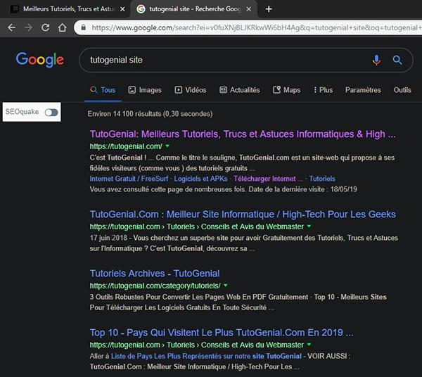 Résultats de recherche Google avec Dark Reader