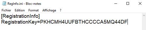 Collez le code dans le fichier RegInfo.ini !