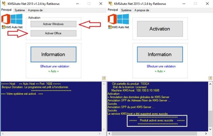 Cliquez sur Activer Windows ou sur Activer Office !
