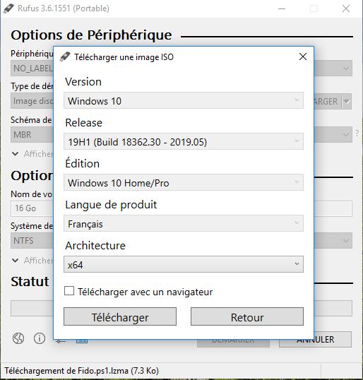 Cliquez sur Télécharger pour telecharger l'image ISO Windows avec Rufus !