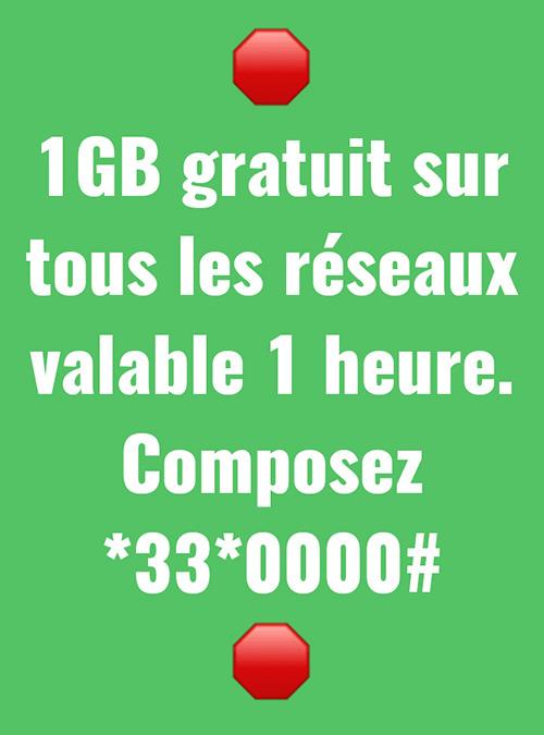 1 GB Gratuit sur tous les réseaux valable 1 heure. Composez *33*0000#