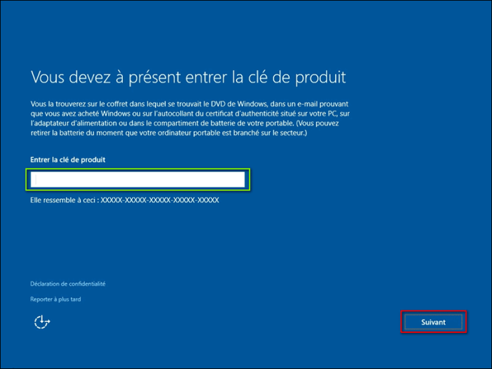 Insérez la clé d'activation Windows 10