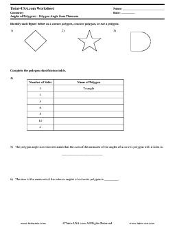 Worksheet Polygon Angle Sum Theorem