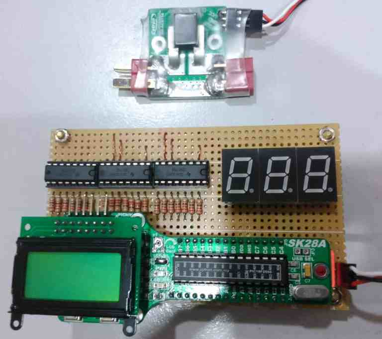 AmpMeter using SK28A and 7-Segment Display