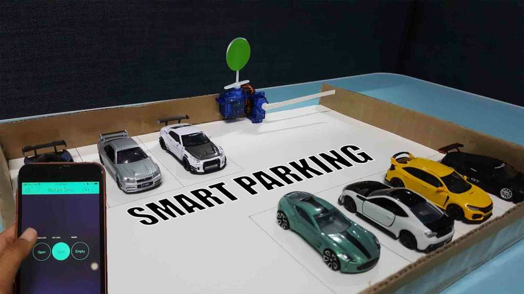 Smart Parking System Controlled by Blynk App on Arduino.