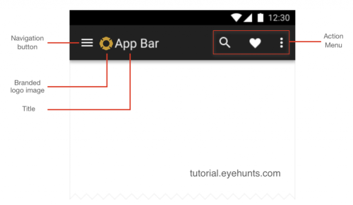 Android Toolbar example Android app bar in Kotlin studio